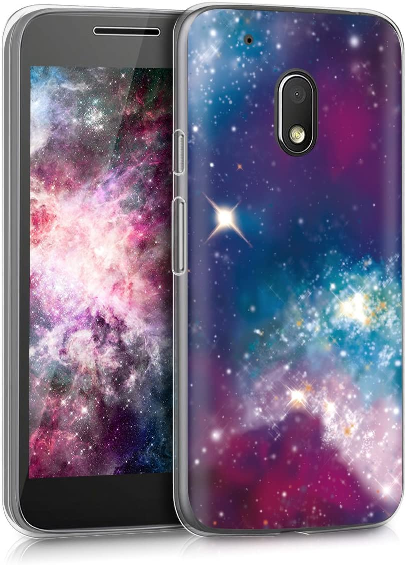 kwmobile Case Compatible with Motorola Moto G4 Play - TPU Crystal Clear Back Protective Cover IMD Design - Outer Space Multicolor/Dark Pink/Black