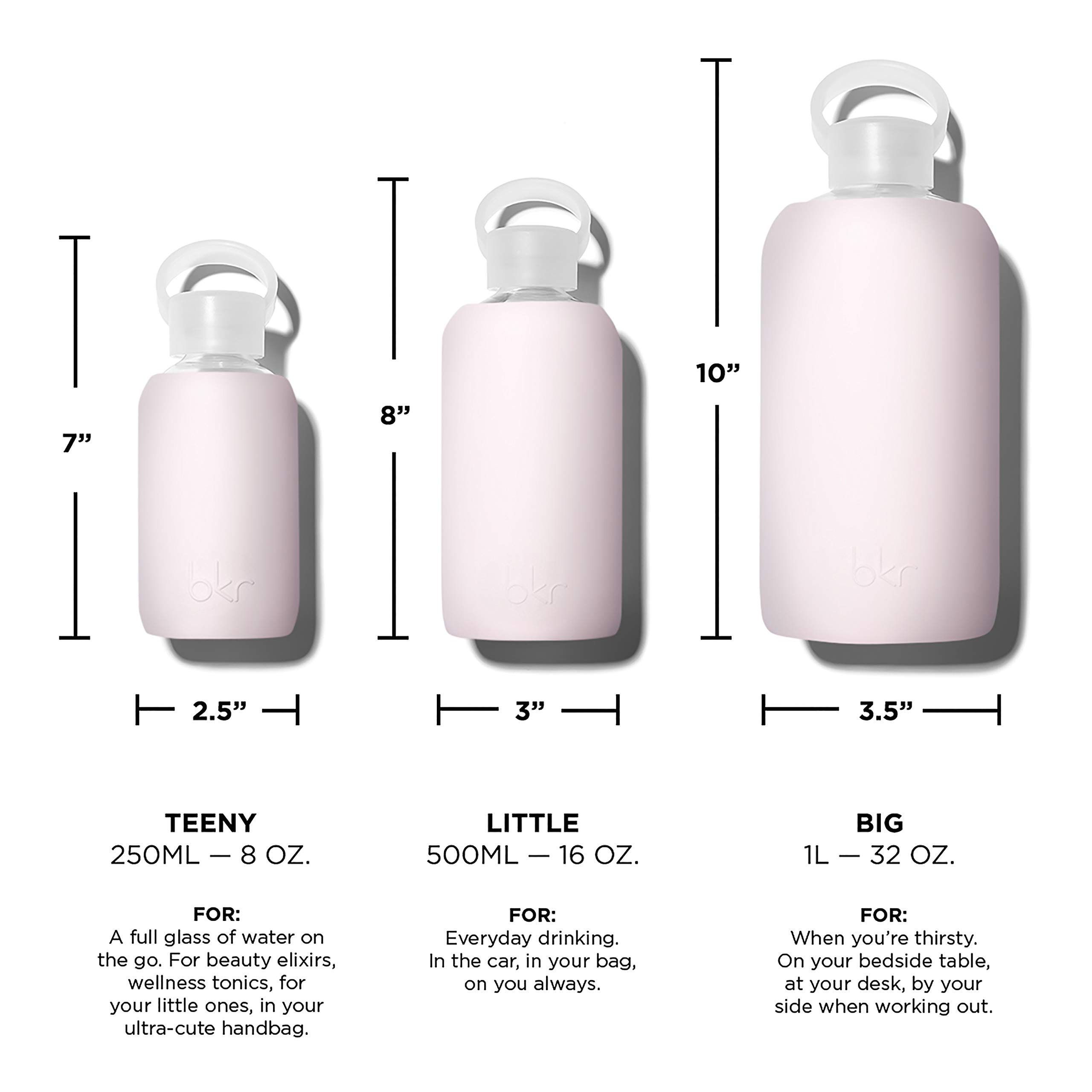 bkr Air Kiss Glass Water Bottle with Smooth Silicone Sleeve for Travel, Narrow Mouth, BPA-Free & Dishwasher Safe, Opaque Socialite Sweetheart Pink, 16 Ounce by bkr (Image #9)