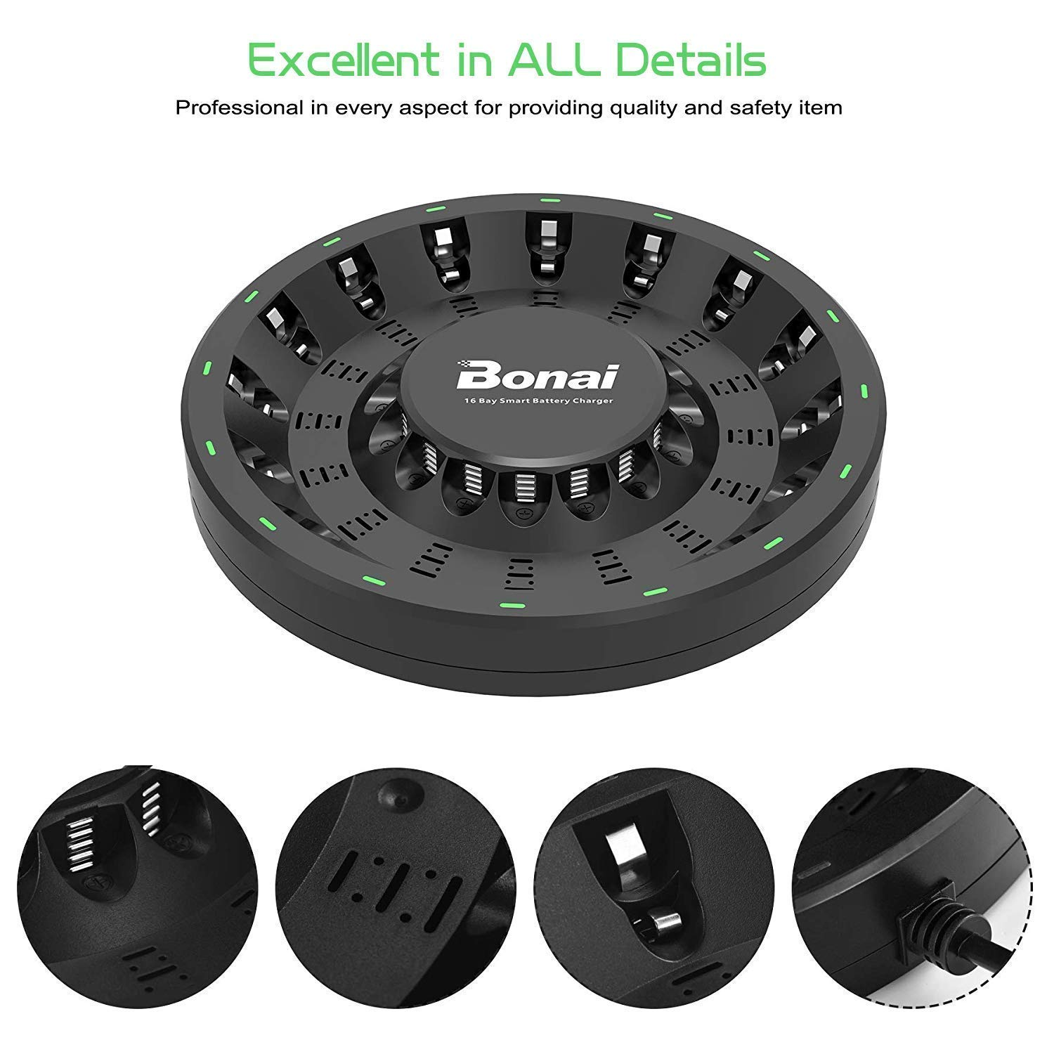 BONAI 16 Bay Smart Battery Charger Round with 16 Pack AA High-Capacity 2800mAh Ni-MH Rechargeable Batteries by BONAI (Image #3)