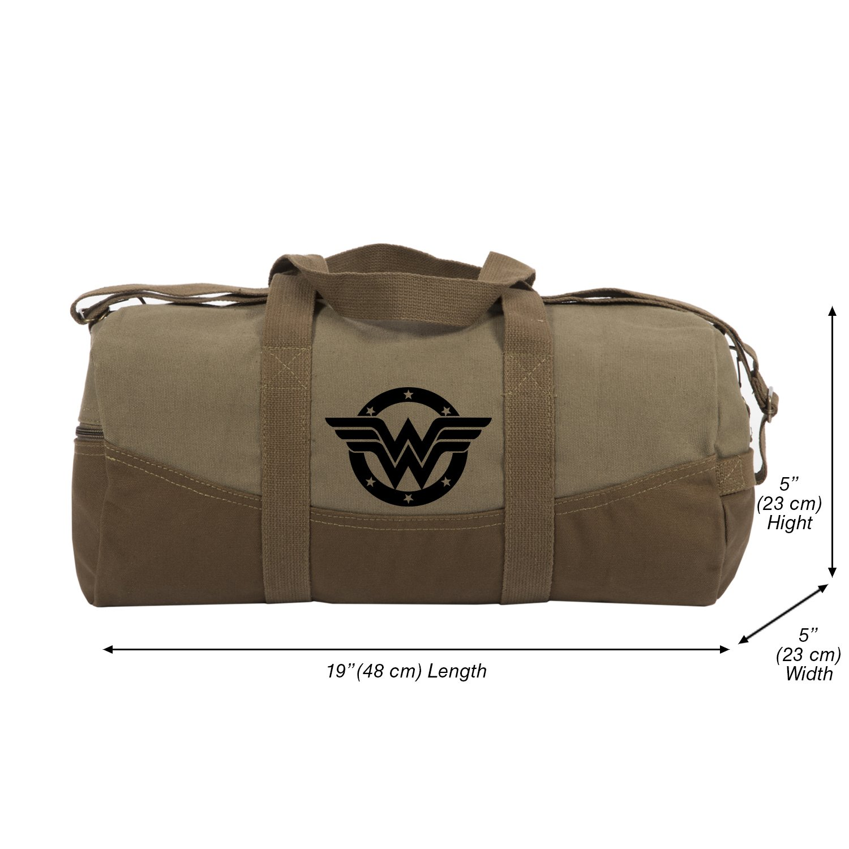 Wonder Woman logo Canvas Duffel Bag, Two Tone Brown & Blk with Detachable Strap
