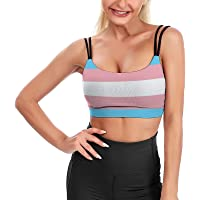 Carwayii Transgender Pride Flag LGBT Yoga Bra Soft Sport Bra with Removable Cups Fitness Tank Tops for Women