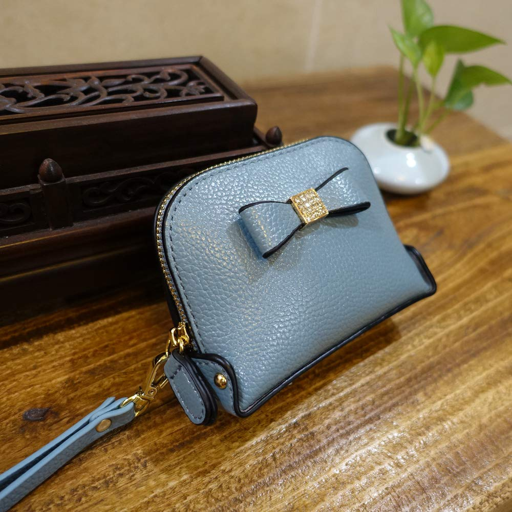 Coin Purse Wallet leather Wristlet Handbags with Wrist Strap Cute Mini Designer Pouch Great Gifts for Women Girls (Bow Blue) by JZE (Image #3)