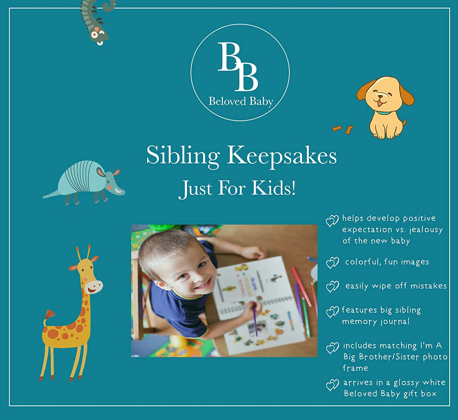 YAY Im A Big Brother, Baby Sibling Keepsake Memory Book and Picture Photo Frame Set for Kids Big Brother
