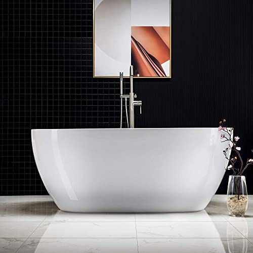 WOODBRIDGE 59 Acrylic Freestanding Bathtub Contemporary Soaking Tub with Chrome Overflow and Drain, B-0018 BTA1518, Oval