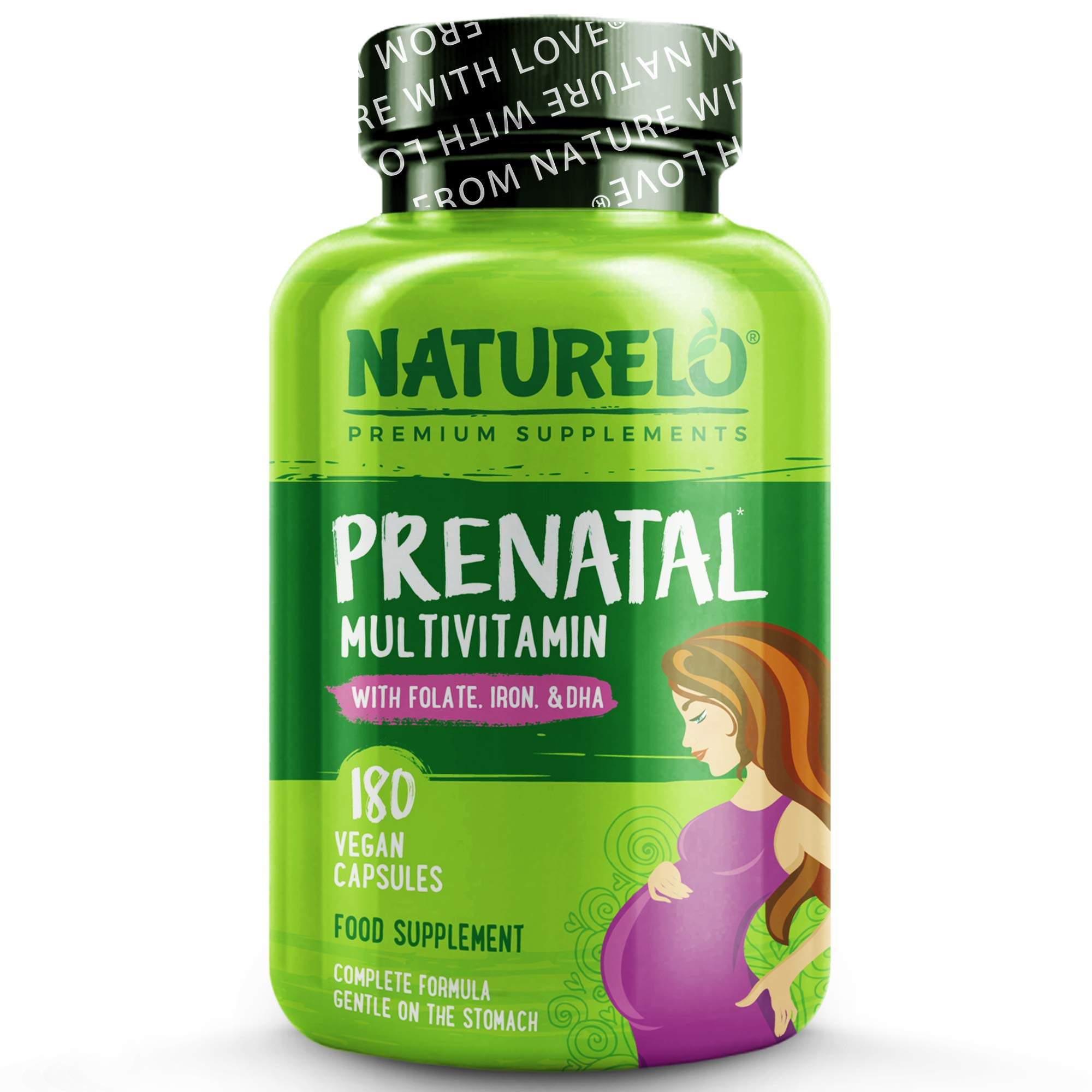 NATURELO Prenatal Whole Food Multivitamin - with Natural Vitamin D, Folate, Iron & Herbs - 180 Caps | 2 Month Supply