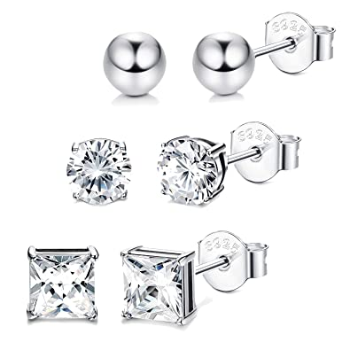 505a6bd90 Sllaiss 3 Pairs CZ Silver Stud Earrings Set for Women Assorted Shapes 925  Sterling Silver Ball Cubic Zirconia Stud Earrings: Amazon.co.uk: Jewellery