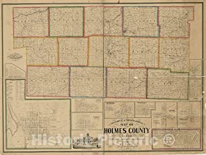Historic 1861 Map - Sectional & Topographical map of Holmes County, Ohio 59in x 44in