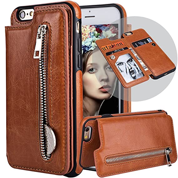 f85cdec8b2b4 iPhone 6S Plus Wallet Case for Women/Men,iPhone 6S Leather Case with Card  Holder,Auker Folio Flip Stand Magnet Slim Wallet Purse Case with Zipper  Coin ...