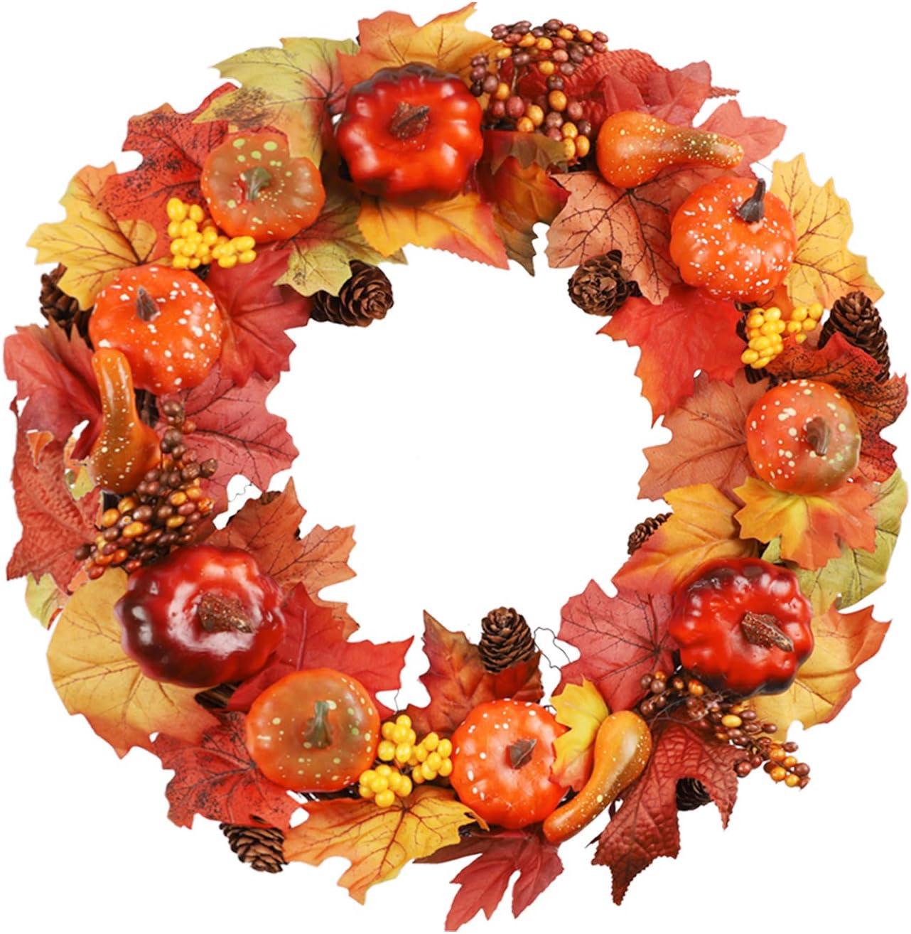Artificial Wreath Rattan Frame With Pumpkin Halloween Thanksgiving Autumn Decors