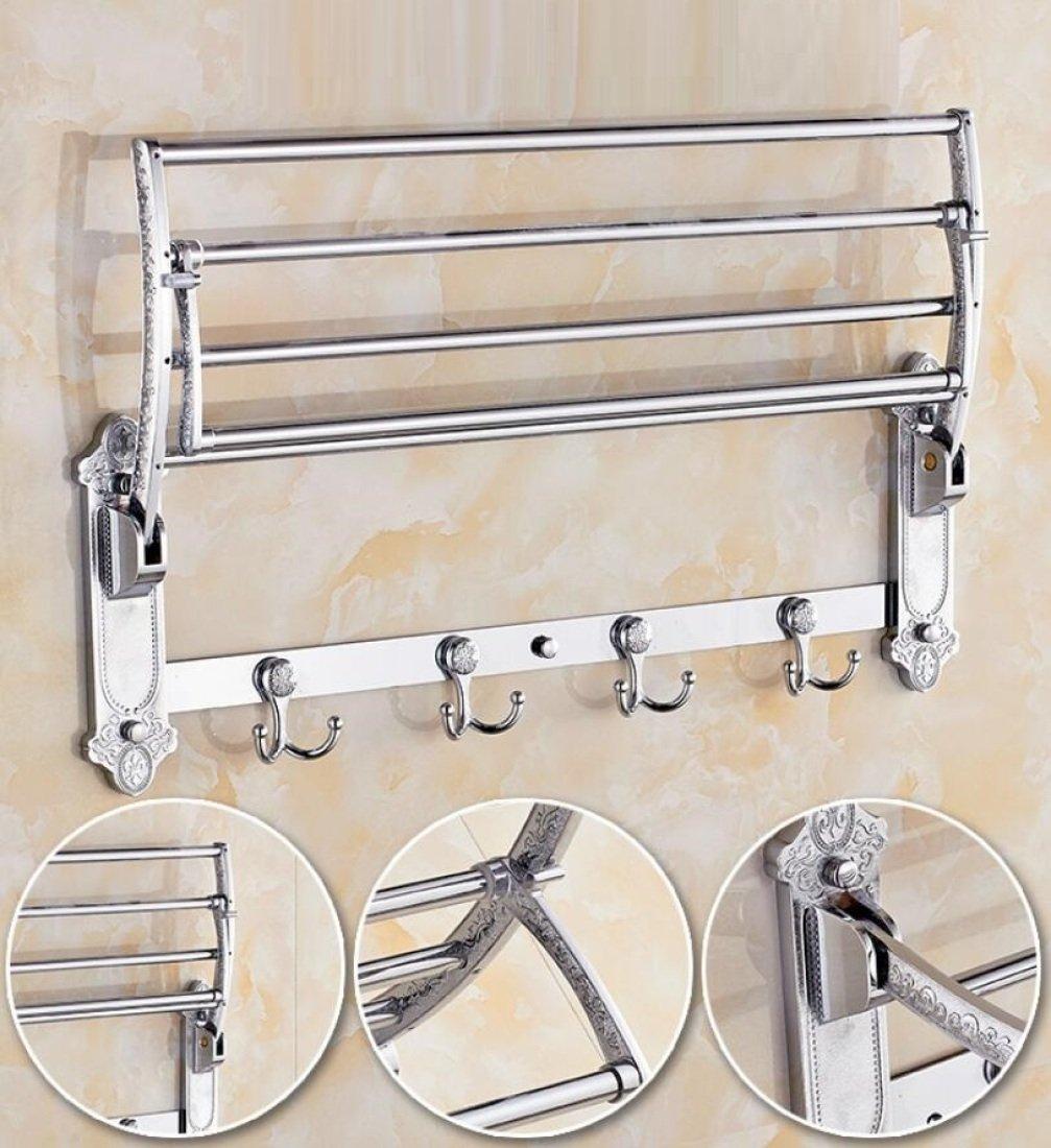GL&G European luxury Silver Bathroom Bath Towel Rack Double Towel Bar Bathroom Accessories Bathroom Storage Organizer Shelf Bathroom Shelf Shower Wall Mount Holder Towel Bars,6023.513.5cm by GAOLIGUO (Image #3)