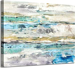 "Abstract Picture Canvas Wall Art: Sea & Sky Horizon Artwork Painting Print for Office (36""x 24""x 1 Panel)"
