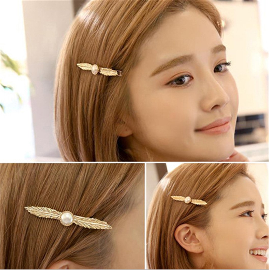 Fashion Pearl Leaf Hair Clip Folder Women Duckbill Hairpin ZYanYi