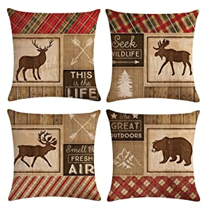 "Decroitem Retro Vintage Background Wildlife Elk Moose Bear Deer Pine Tree Forest Mountain Throw Pillow Covers Cotton Linen Pillowcase Cushion Cover Christmas Home Decor 18"" X 18"" Set of 4 (Animals 2)"
