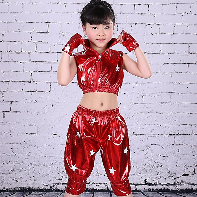 2a03c8992ff1 Amazon.com  BOZEVON Kids Girls Boys Stars Jazz Dance Costumes Stage ...