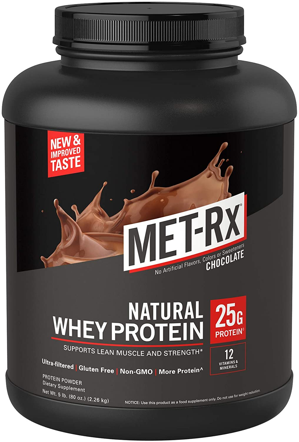 MET-Rx - Protein Powder - 100% Natural Whey - Chocolate 5lb by MetRX