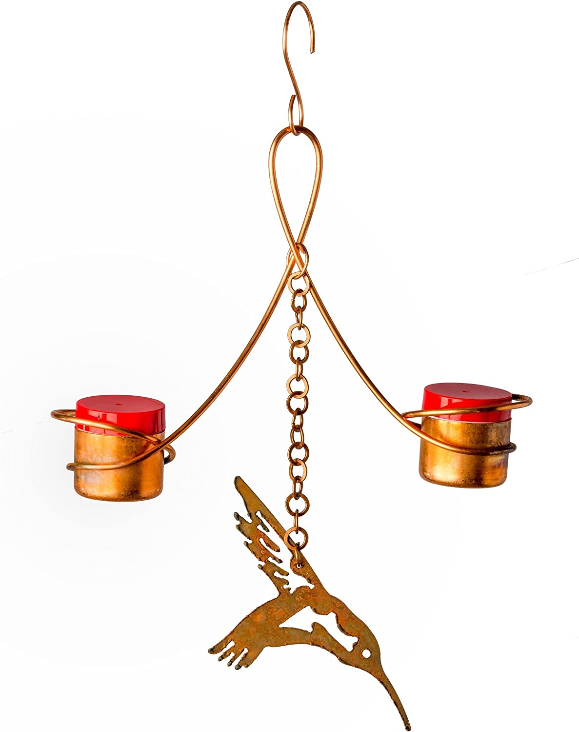 Copper Hummingbird Double Feeder - Drip-Free, Bee and Wasp Proof Design