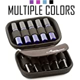 Hard Shell Roller Bottle Carrying Case - Holds 10 Essential Oil Roller Balls - For Travel & Storage
