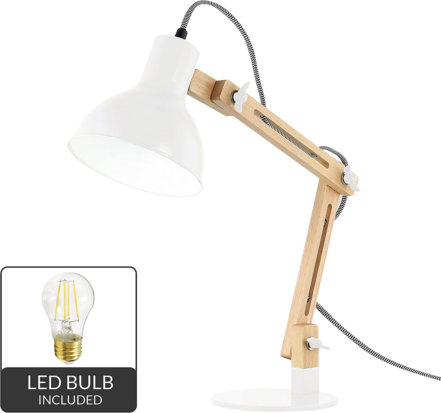 Light Society Galvan LED Task Table Lamp Natural Wood with White Shade, Industrial Pixar Style Modern Desk Lamp Light (LS-T229-WHI)