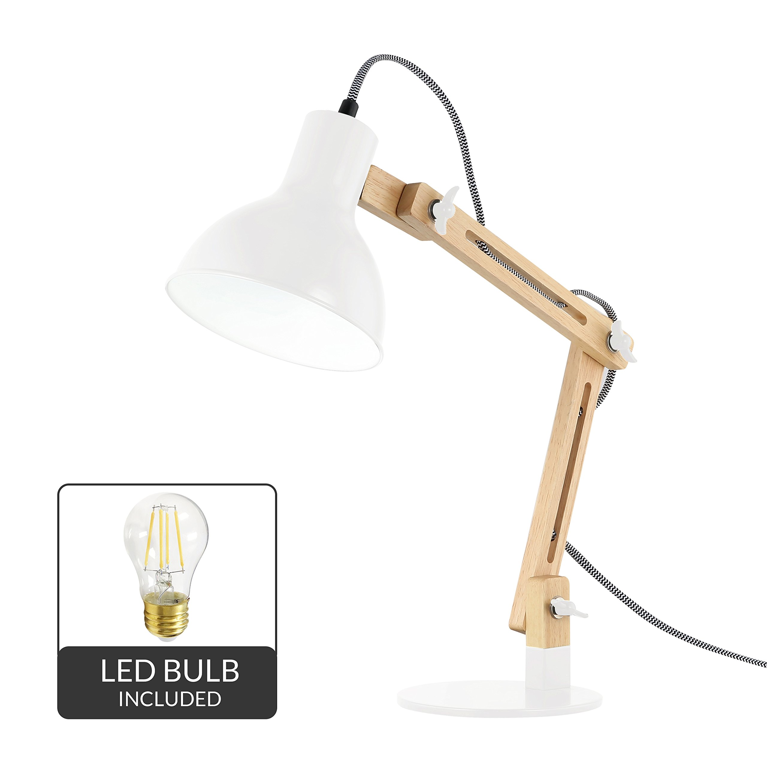 Light Society Galvan LED Task Table Lamp, Natural Wood with White Shade and Base, Modern Industrial Pixar-Style (LS-T229-WHI)