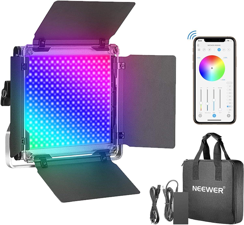 Neewer Luz de Video LED 660PRO RGB con App Control Iluminaci/ón de Video de 50 W 360/°a Todo Color CRI 97 con Soporte Barndoor//U para Juegos Transmisi/ón Youtube Webex Conferencia Web Fotograf/ía