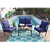 PHI VILLA 4 Piece Patio Sets, Outdoor Metal Furniture Patio Conversation Set Clearance with Padded Deep Seating Sofa, 1 Loves