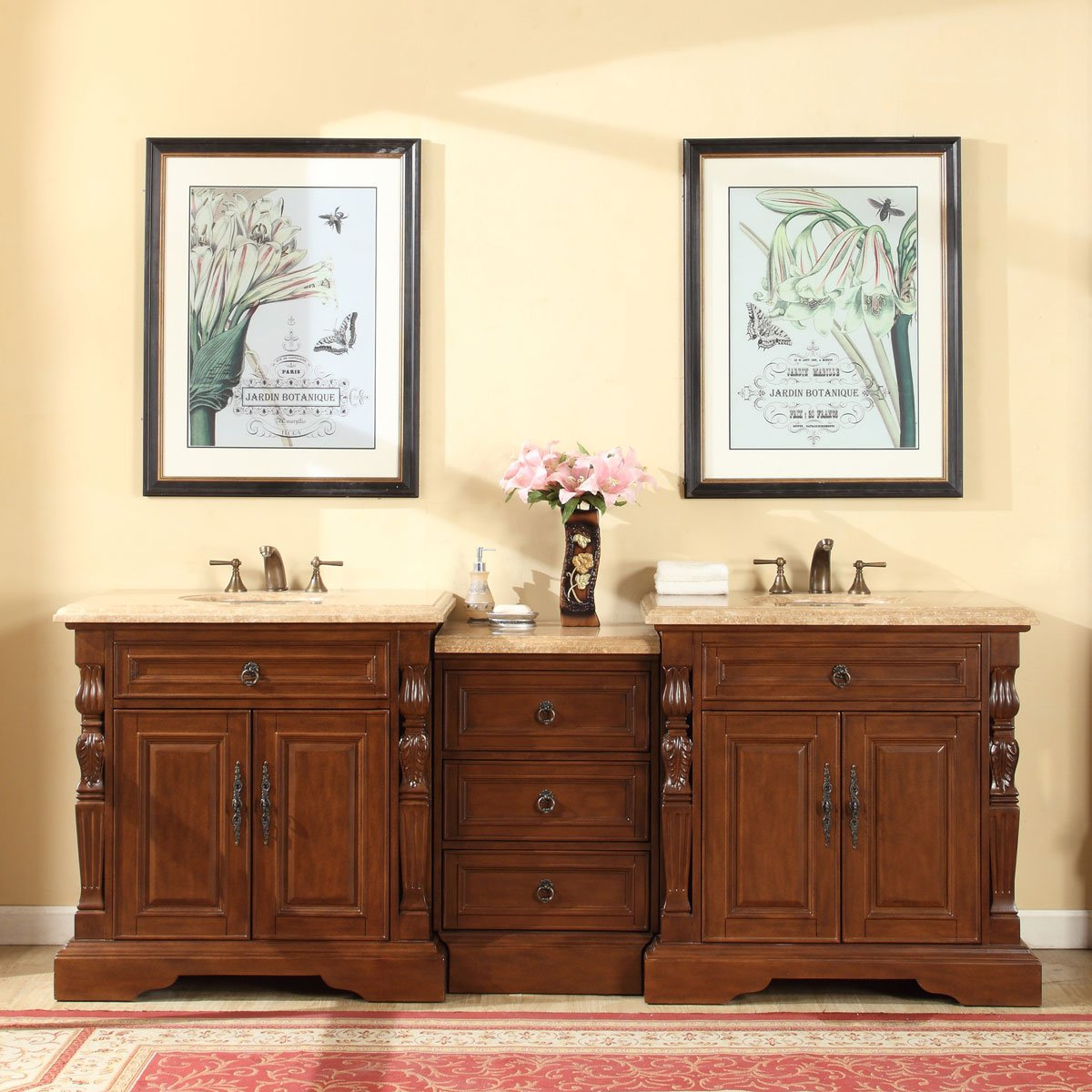 Silkroad Exclusive Bathroom Vanity Travertine Top Double Sink Cabinet, 90'' by Silkroad Exclusive