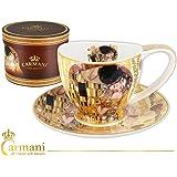 Carmani - Tazza di porcellana con piattino decorato con 'Il bacio' di Gustav Klimt 260ml