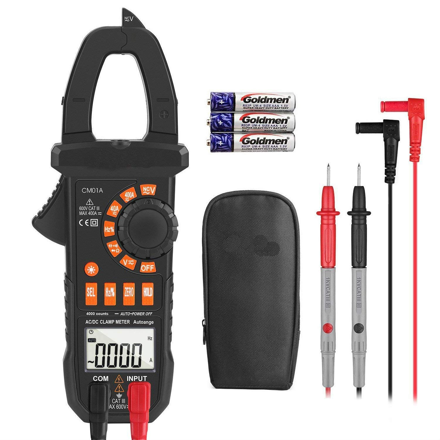 Clamp Meter Amp meter Digital Multimeter 4000 Counts with NCV Auto-Ranging Testing AC/DC Current&Voltage, Continuity Electrical Tester, Diode, Resistance, Capacitance, Frequency- Tacklife CM01A by TACKLIFE
