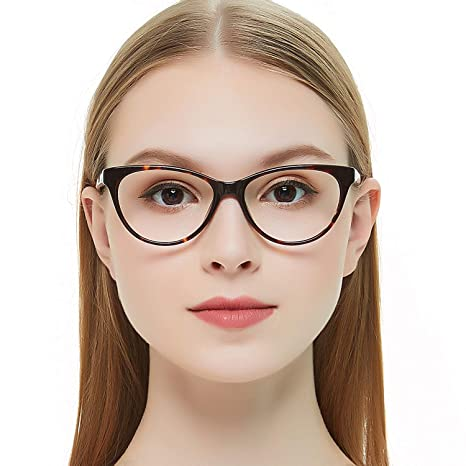 6d628d0d5374 Amazon.com  OCCI CHIARI Acetate Cateye Non-Prescription Frame Optical  Eyewear Women (Brown Tortoise)  Clothing