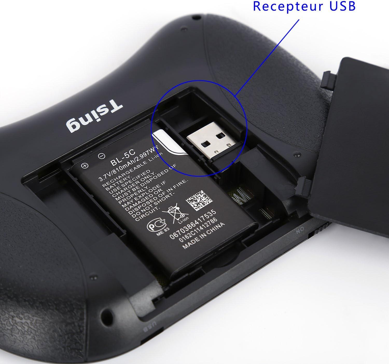 Mini Teclado Francesa 2.4 GHz Tsing ergonómico inalámbrico con Touchpad – para Smart TV, Mini PC, HTPC, Consola, Ordenador (Cinco Colores de Choisir) Negro: Amazon.es: Informática