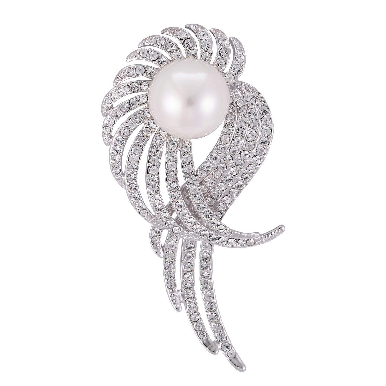 Rainbow Box Pearl Brooch Pins with Swarovski Crystal, Rhinestone Women's Brooches & Pins
