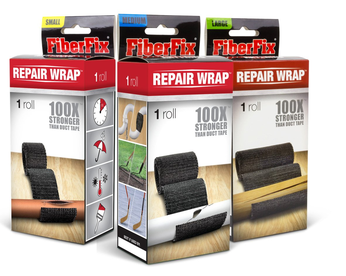 FiberFix 1'', 2'' & 4'' Repair Tape Wrap - 3 Pack - Fix Anything with Permanent Waterproof Repair Tape 100x Stronger than Duct Tape by FiberFix (Image #1)