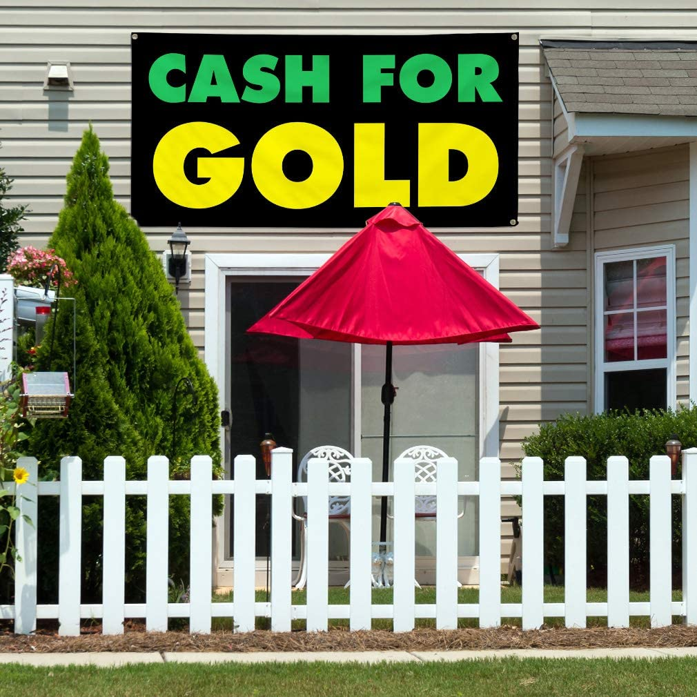 8 Grommets 44inx110in Vinyl Banner Sign Cash for Gold #1 Business Cash for Gold Marketing Advertising Green Multiple Sizes Available One Banner