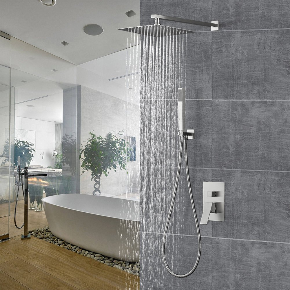 Shower System with Rainfall Shower Head and Handheld Shower Heads Stainless Steel Wall Mounted Rain Mixer Shower Combo Set for Luxury Bathroom 10 Inch Square Shower Set