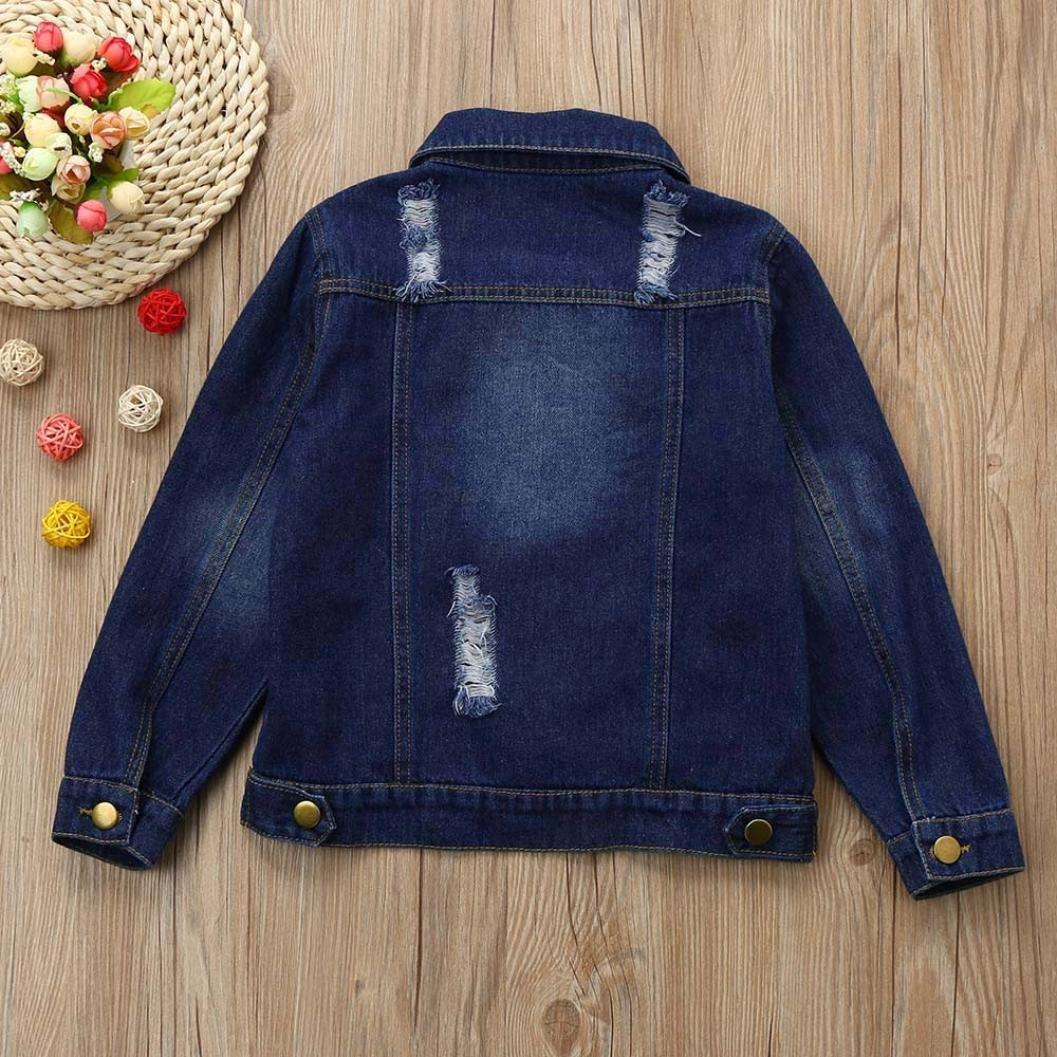 Kehen Childrens Place Kids Girls Hole Denim Classic Trucker Jackets Coat Cowboy Outwear