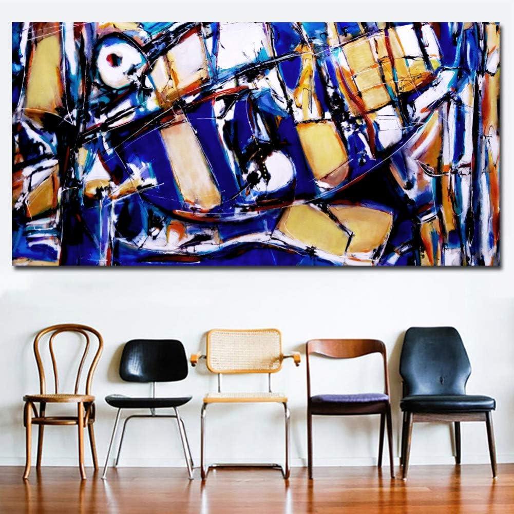 YOHAWOD Impresión de la Lona sin Marco de impresión Fotos Obra de Arte Cartel Azul y Ocre al Arte Pop HD Impresión Pintura al óleo Abstracta Imagen Moderna del Arte de la Pared