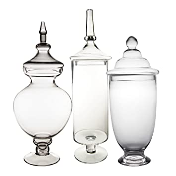 Amazoncom Cys Excel Candy Jar Glass Apothecary Jar Set Of 3