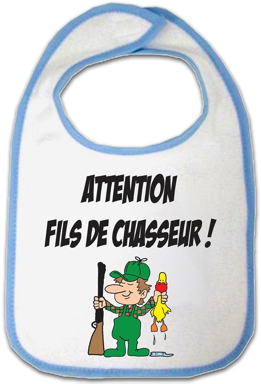 Humour Bavoir Bleu B/éb/é Yonacrea Attention fils de Chasseur