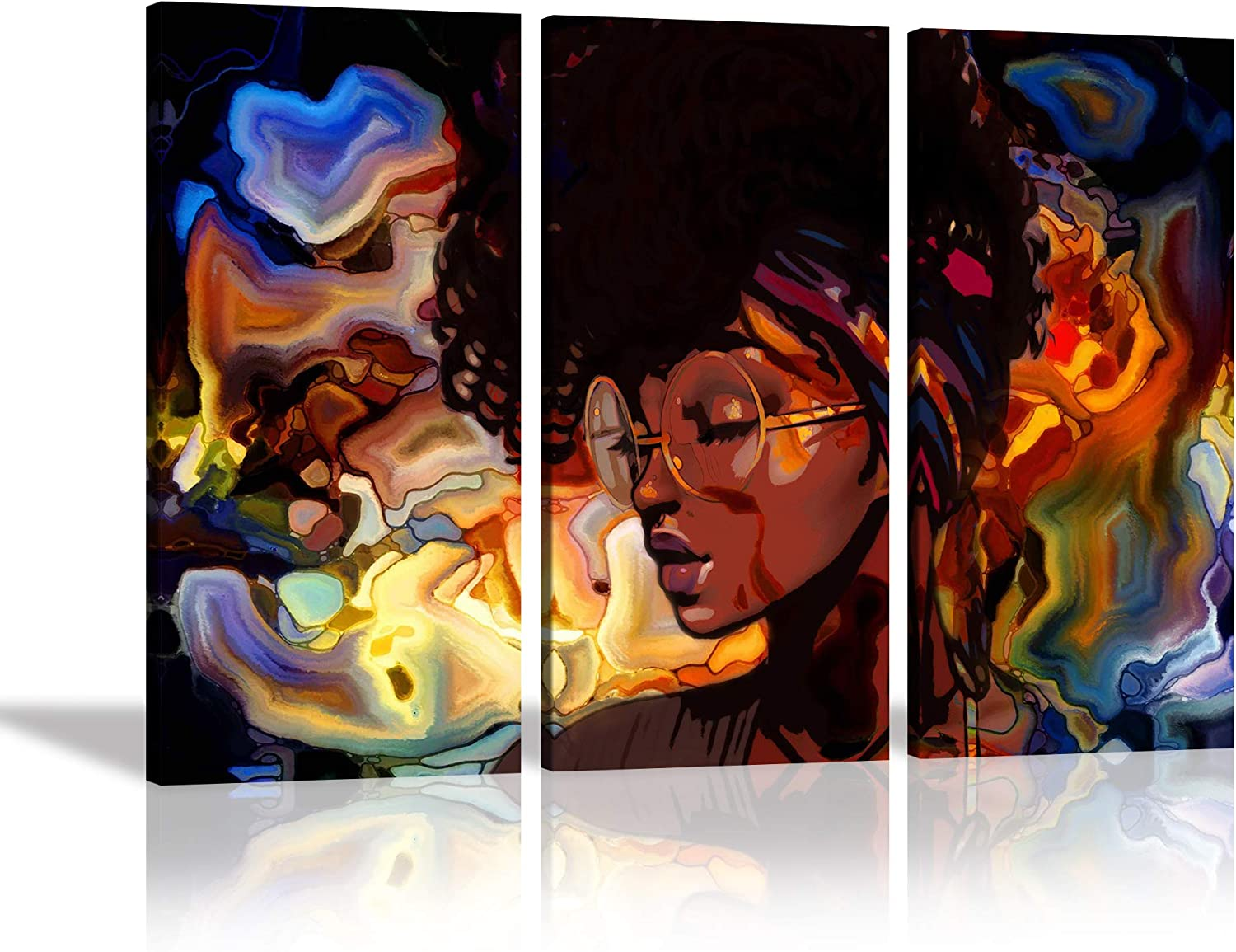 African American Women Canvas Mural Art Abstract Graffiti Hippie Painting Poster Decoration Bedroom Living Room Ofice Home Decoration Frame Ready to Hang