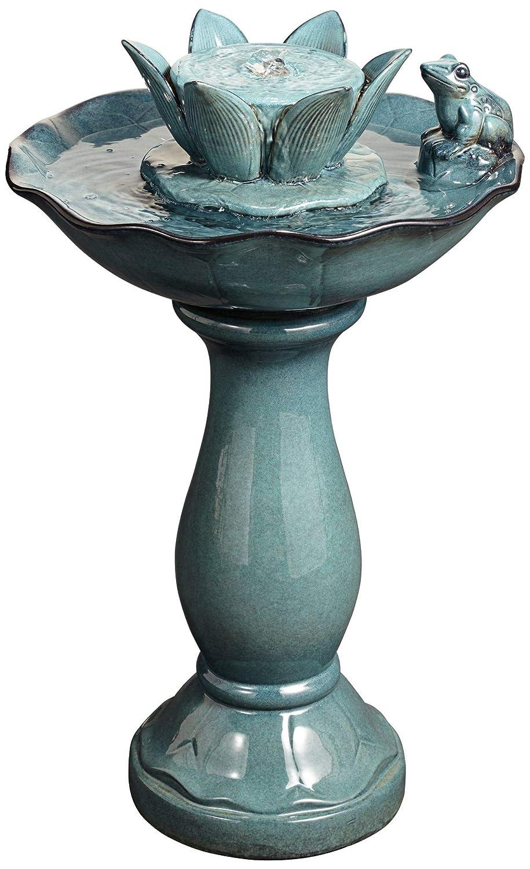 "John Timberland Pleasant Pond Frog-Lotus 25 1/4"" Outdoor Pedestal Fountain"