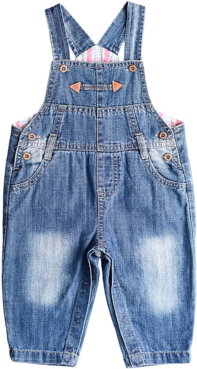 BAIXITE Baby /& Little Boy//Girl Soft Washed Denim Bib Overalls Casual Jeans 3-24 Months Various Styles