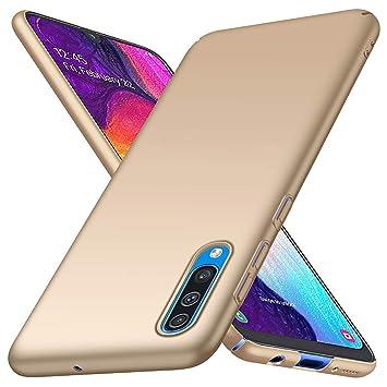 HUUH Funda para Samsung Galaxy A50,Simple y Temperamento,Carcasa del teléfono móvil Anti-caída de Cubierta Dura Mate Ultra Delgada(Oro)