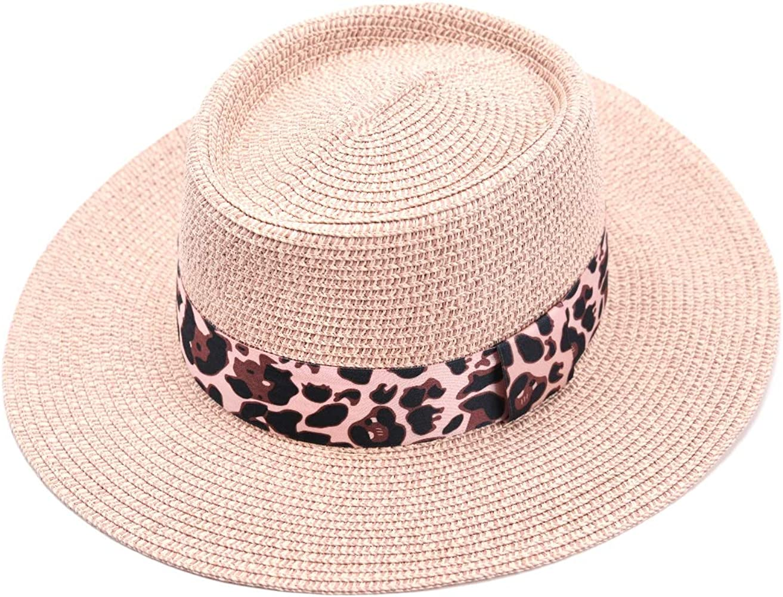 bf7072b161e4cf accsa Women Straw Sun Panama Fedora Hat Summer Beach Cap with Leopard  Ribbon Band Pink