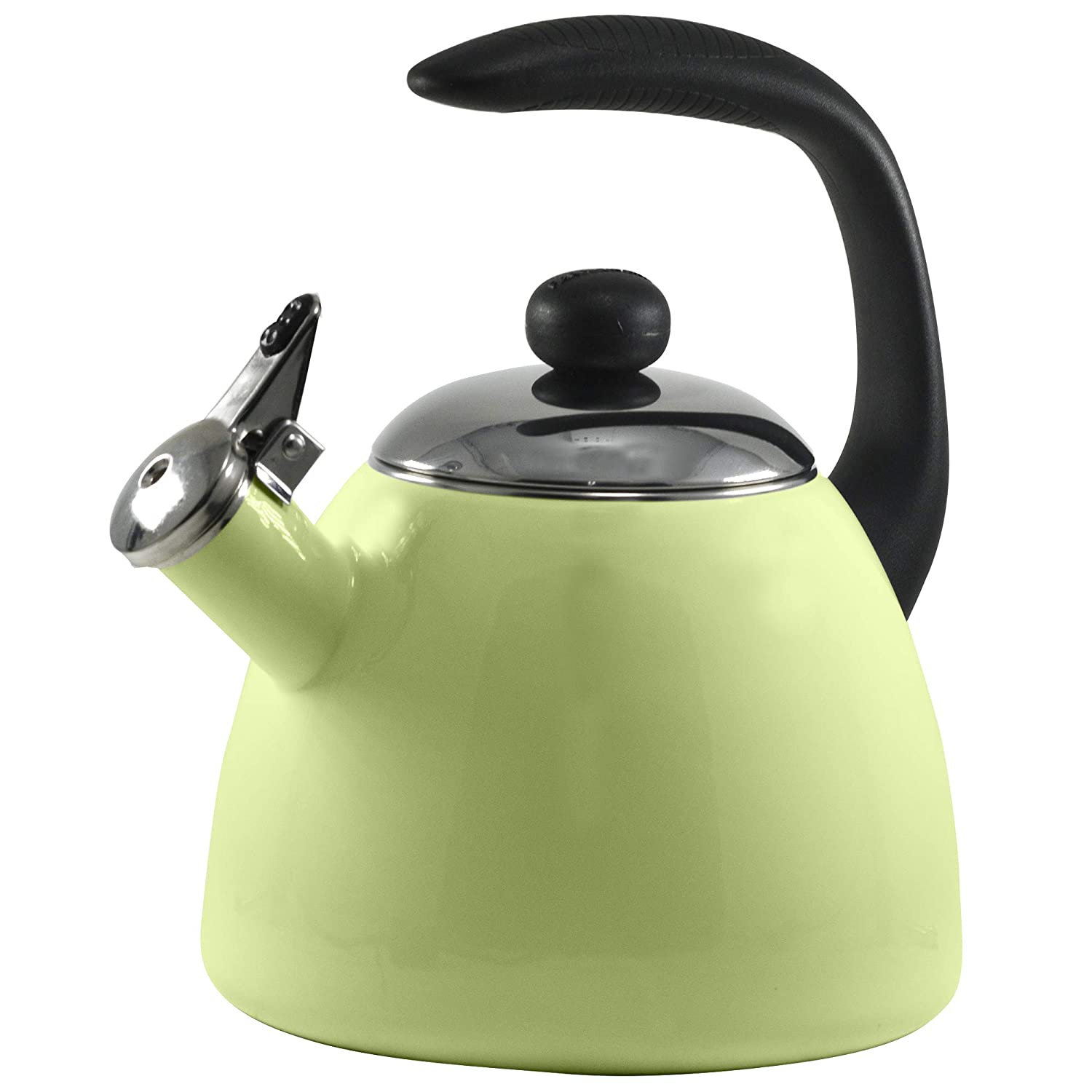 2.5 Quart Tea Kettle, Stove Top Food Grade 18/8 Stainless Steel Water Kettles Audible Whistling Anti- Hot and Anti-Rust Teapots Porcelain Enamel Cooktop Pot with Soft Grip C Handle (Granny Apple)