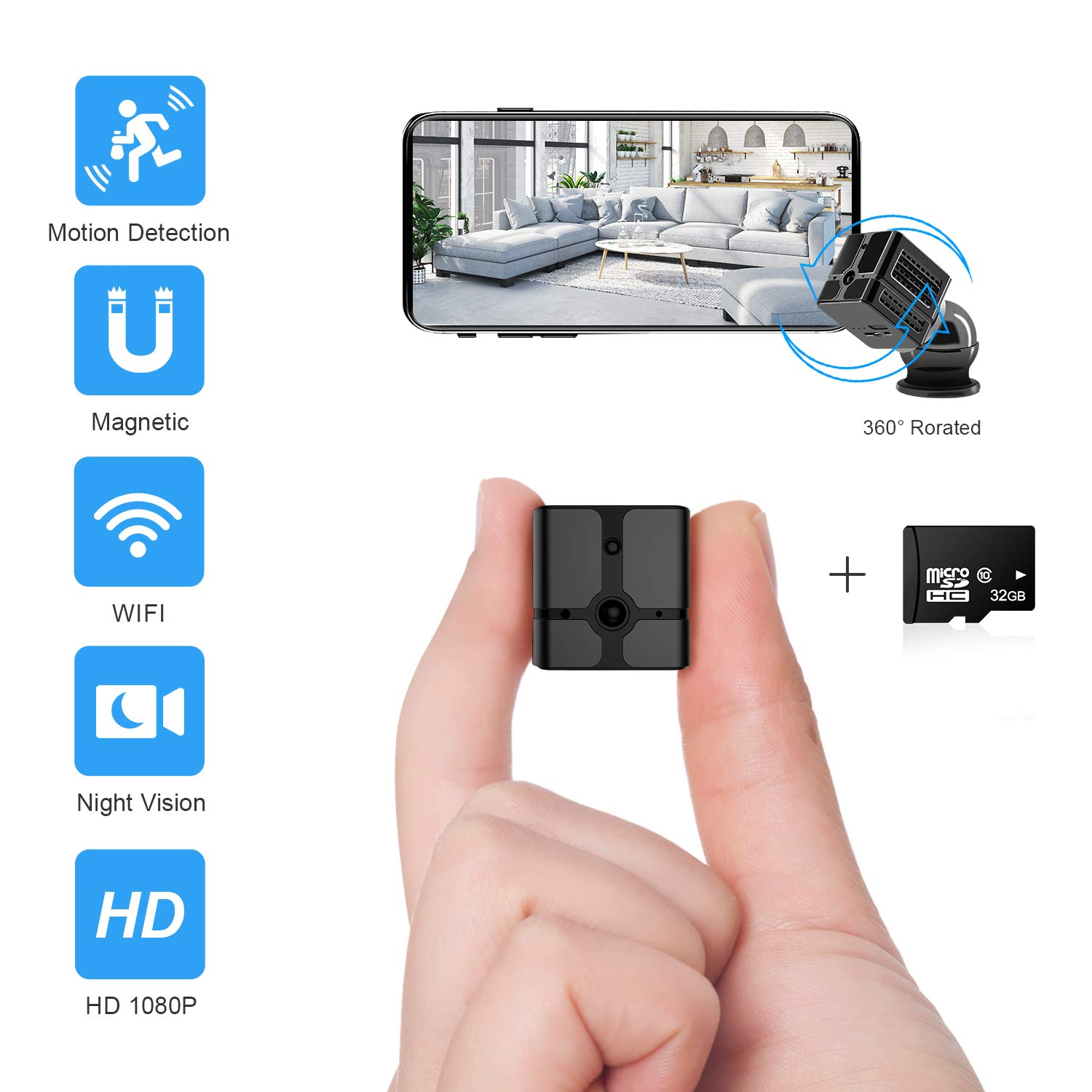 Ehomful Mini Spy Camera Wireless Hidden Camera for Home WiFi Mini Camera 1080P Portable Small Security Cameras Body Camera with App Night Vision Motion Detective Nanny Cam for iPhone and Android Phone
