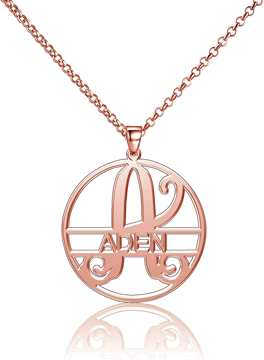 Moonlight Collections Aden Necklace Custom Monogrammed Name Necklace Personalized Sterling Silver