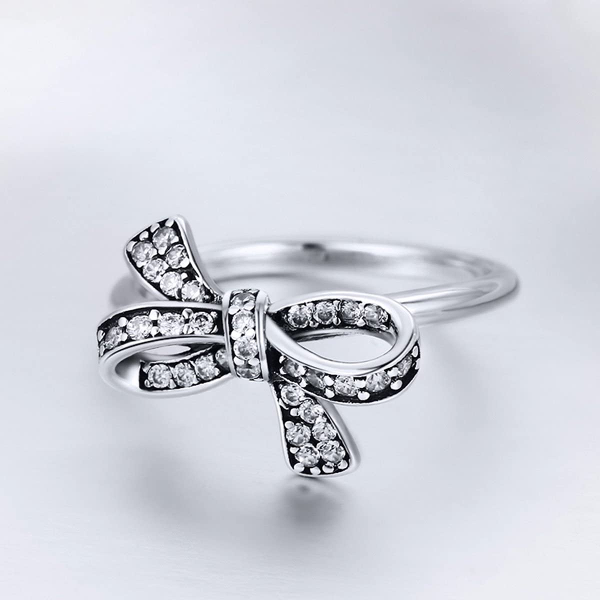 Everbling Bowknot 925 Sterling Silver Ring Clear CZ