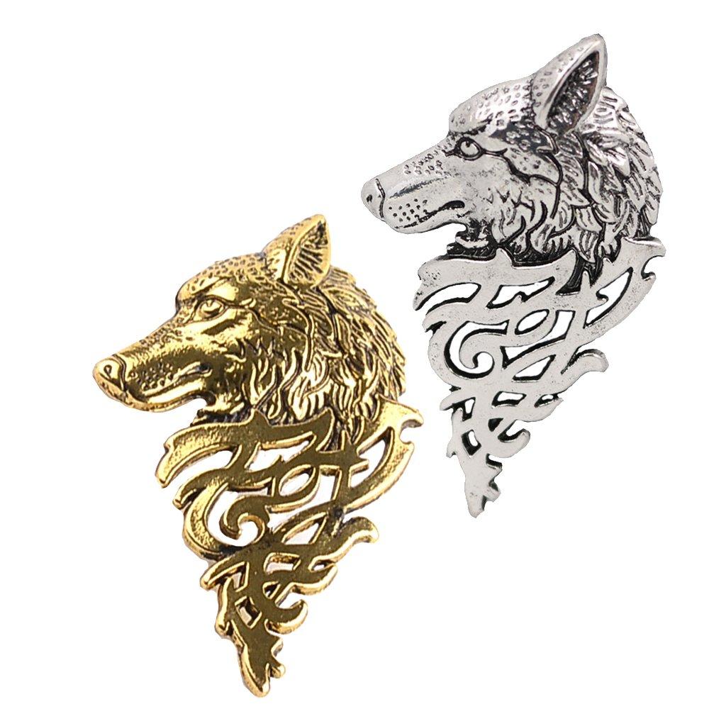 B Baosity 2 Piezas De Aleació n Vintage Lobo Cabeza Broche Pin Traje Collar Pin Joyerí a Hombres Regalos