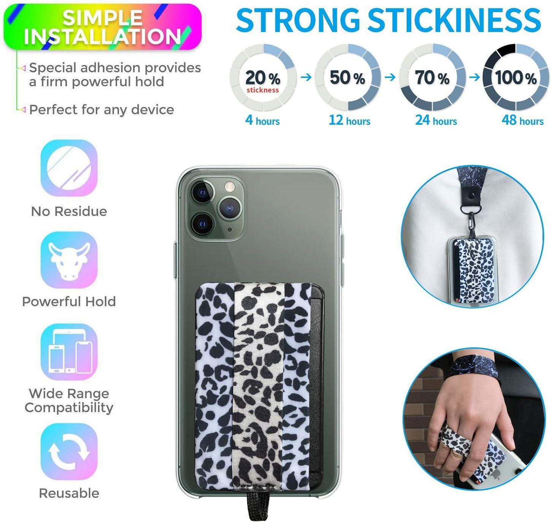 3 Pack Set 5in1-RFID Blocking Phone Grip Card Holder with Flip+Finger Strap Phone Holder+Wrist Lanyard+Neck Lanyard+Mounts to Magnets-Phone Card Wallet for All Smartphones (White Leoard Granin)