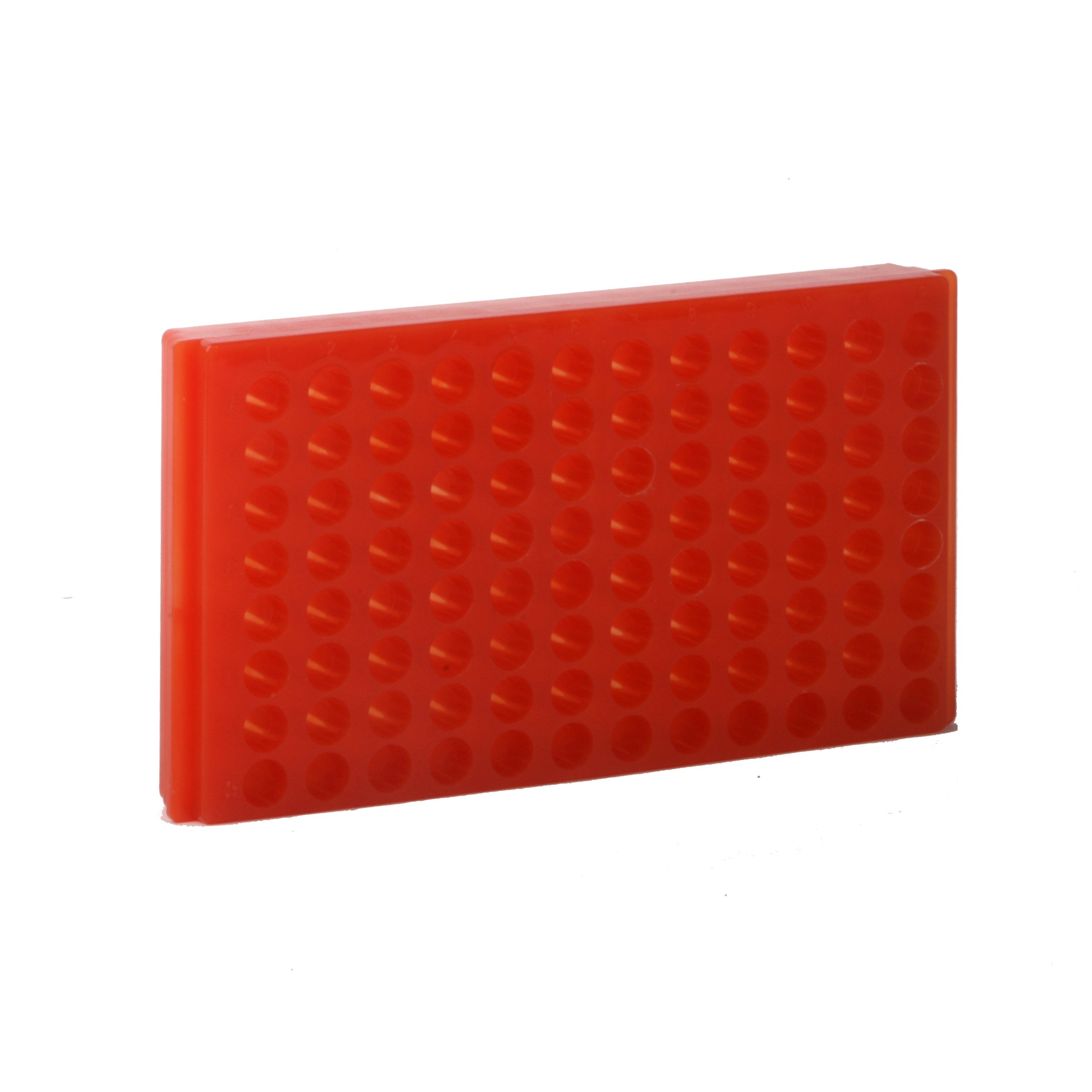 Bio Plas 0094 Orange Polypropylene Reversible 1.5mL and 2.0mL Microcentrifuge Tube Rack, 96 Places (Pack of 5)